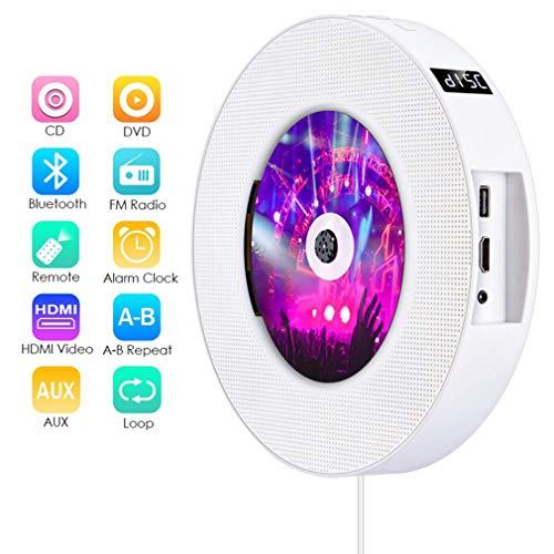 JUAN draagbare dvd-speler, aan de muur te monteren cd-speler met afstandsbediening en HDMI uitgang 1080P voor thuis ingebouwde Hifi luidsprekers FM-radio