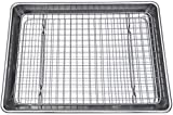 Checkered Chef Quarter Sheet Pan and Rack Set 9.5 x 13 inches. Aluminum Cookie Sheet/Baking Sheet Pan with Stainless...