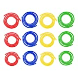 ZxwZmc Cubre Cables, 12 Piezas Organizador de Cables, Flexible Organizador Cables, Material PE, para el Organizador de Cables Telefónicos, Cables de Computadora (3 Diámetros, 4 Colores, 1m Cada Uno)