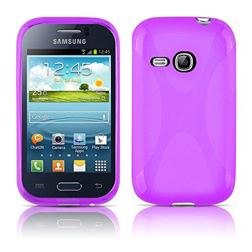 Cadorabo Samsung Galaxy Young DUOS Funda de Silicona TPU DISEÑO X en ÓXIDO Negro – Cubierta Protectora Super Delgada e Flexible con Antichoque – Gel Case Cover Carcasa Protección Ligera