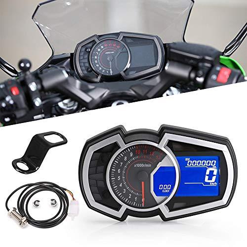 KKmoon Tacho Motorrad Speed Meter 0〜13000 RPM Geschwindigkeitsmesser wasserdichte für Ninja 650 1,2,3 Zylinder, LCD Motorrad Instrument Tachometer 199 km/h mit Halterung