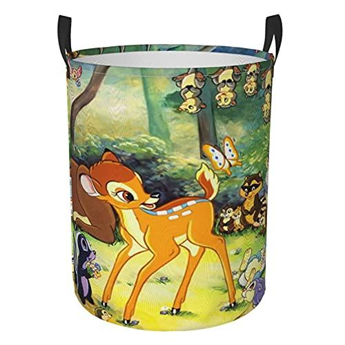 Bambi - Cesta de lavandería redonda impermeable con asa, de pie y plegable multifuncional (dos tamaños) M