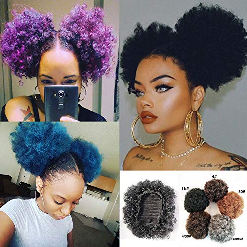 2PCS Afro Bun Puff Sissi's Fashion Hair Elastic Wrap Drawstring Synthetic Curly Ponytail Donut Chignon Hairpieces Wig Updo Hair Extensions with Clips (4)
