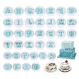 Gobesty Lettere Stampini Biscotti, 36 Formina per Biscotti Fondente, Timbro per Biscotti con Lettere e Numeri, Decorazione per Torte con Numeri Alfabetici Colorati, Set di Accessori per Biscotti