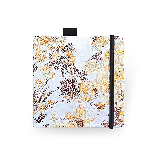 Square 5.1X5.1' 300gsm Watercolor Journal Hardbound 40pgs(20 Sheets Front Back 2 Textures)Travel Size for Calligrapher Colored Pencil Watercolor Sketch Handmade Cloth Cover Notebook Yellow Floret