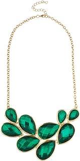 Xmas Christmas Holiday Green Stone Bib Statement Tear Drop Chain Necklace