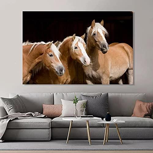 WACZJ Impresión de Lienzo Carteles Impresiones Animales Modernos Cuadro sobre Lienzo para Pared imágenes Tres Cabezas Caballo para decoración Sala Estar Cuadros Regalo de cumpleaños 20x32 Pulg