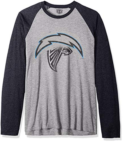 OTS NFL Los Angeles Chargers Men's Triblend Raglan Tee, Distressed Iced, X-Large