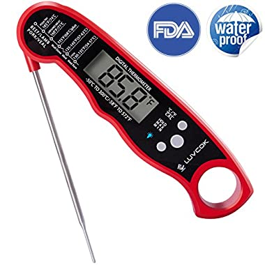 Food Thermometer Meat Thermometer Oven Thermometer Digital Candy Thermometer Luvcok Waterproof Instant Read Cooking Thermometer, for Kitchen BBQ Grill Smoker, Red