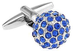 Spherical Blue Rhinestones Modeling Cufflinks