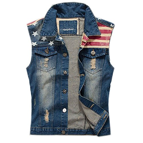 FantasticLife FL Men's Comfortable Slim Fit American Flag Demin Jacket Sleeveless Vest (L) Blue