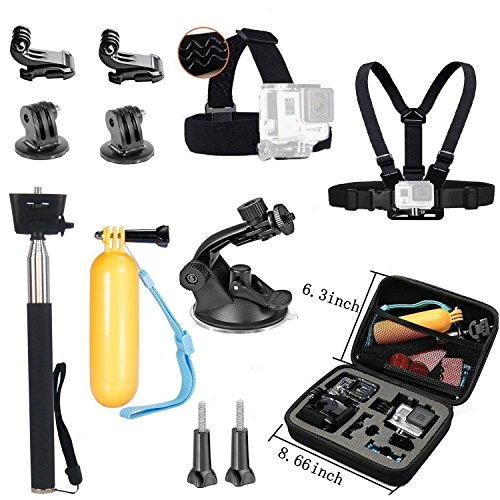 VVHOOY Action Camera Middle Carry Case Bundle with Head Chest Strap Mount/Selfie Stick/Floating Handle Grip/Suction Cup Mount Compatible with Gopro Style Action Cameraveon CX/Campark Camera