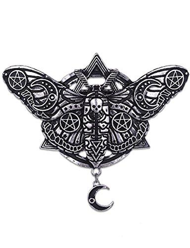 Dark Dreams Gothic Haarspange Hairclip Motte Mond Pentagramm Nachtfalter Altsilber sehr massiv Restyle