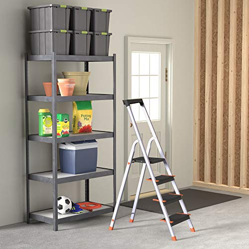 AmazonBasics Folding Step Ladder - 4-Step, Aluminum with Wide Pedal, Silver and Black