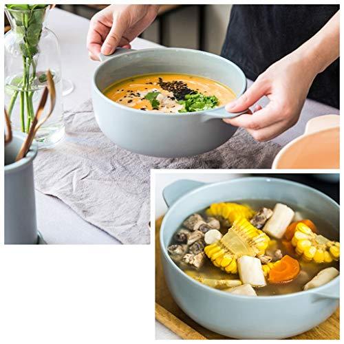 YYF Vaisselle en céramique simple bol de riz/nouille bol/bol à soupe/bol plat mis 8 pouces (Color : Green)