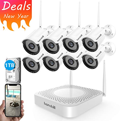 Wireless Home Security Camera System 8 Channel 1080P Outdoor Surveillance NVR Kits with 8pcs Wireless Security Camera and 1TB Hard Drive no Monthly Fee