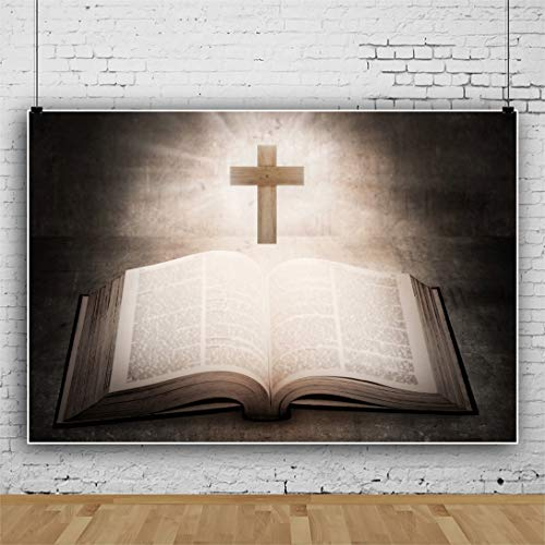 DaShan 10x6.5ft Bible Backdrop Christian Jesus Prayer Photography Background Holy Lights Cross Wallpaper Easter Party Backdrop Church Wedding Theme Events Baptism Birthday Portrait Photo Props