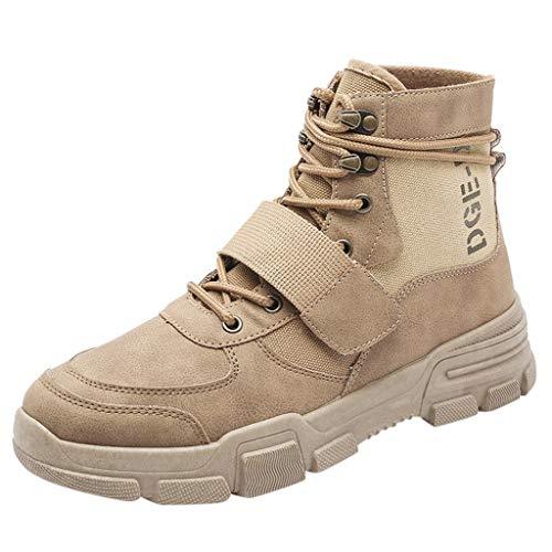 DAIFINEY Herren Outdoor Boots High Worker Boots Einsatzstiefel Kampfstiefel Wanderschuhe Combat Boots Tactical Schuhe Outdoor Sportschuhe Air Fitness Sneaker(Beige/Beige,41)