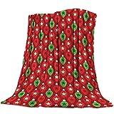 Yaxinduobao Ultra Soft Flannel Fleece Bed Manta Cute Star Bulb Christmas Themed Throw Manta All Season Warm Fuzzy Light Weight Cozy Plush Mantas for Living Room/Bedroom