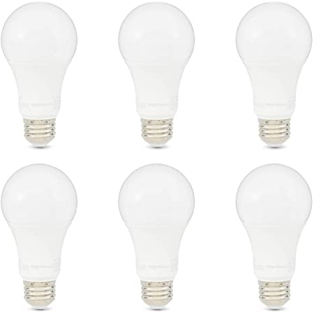 Amazon Basics 100W Equivalent, Daylight, Non-Dimmable, 10,000 Hour Lifetime, A19 LED Light Bulb   6-Pack