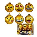 mikamax - Pallina Natalizia a Forma di Emoticon - Emoji Christmas Balls - Set di 6 Palline - Decorazioni di Natale - 8 cm