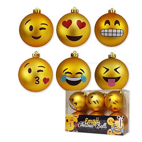 mikamax - Weihnachtskugeln - Emoji Christmas Balls - Satz von 6 Kugeln - Xmas Ornaments - 8 cm