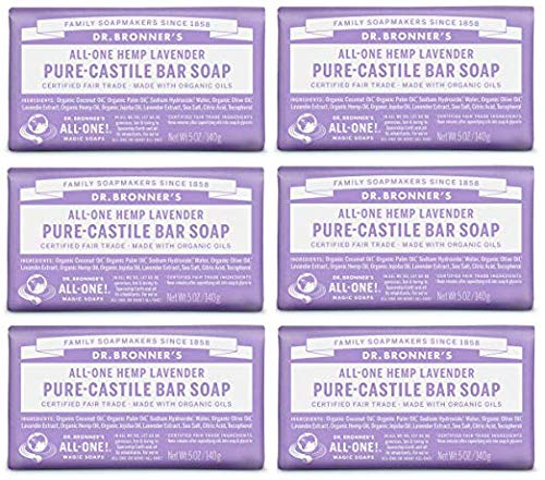 Dr. Bronner's Pure-Castile Bar Soap - Lavender, 5 Oz (6 Pack)