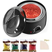 Waxing Kit Wax Warmer - Hair Removal Kit with Hard Wax Beans, Painless Electric Wax Heater Hard Scented Wax Warmers Electric Kit for Women & Men