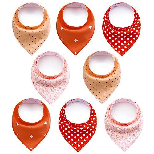 8 Stück Baby Dreieckstuch,DIAOCARE Halstücher Lätzchen baby mit 2 Verstellbares Druckknopf,100% Bio-Baumwolle,Weiche & Absorbierende (Mädchen)