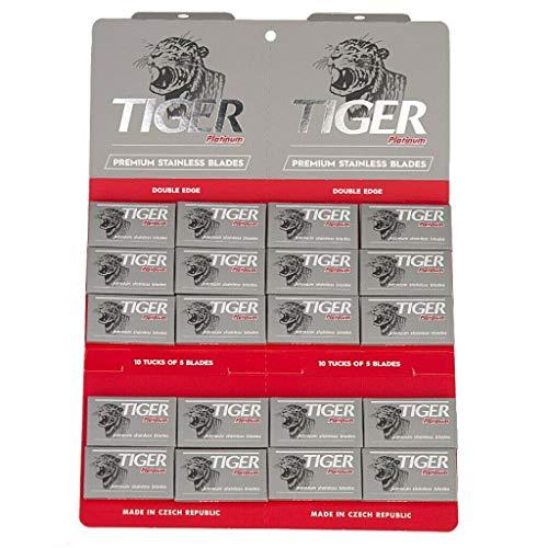 100 cuchillas de afeitar Tiger Platinum de doble filo.