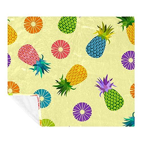 Coperta in pile per divano – Coperta morbida e leggera per adulti e bambini, 149,9 x 129,8 cm, ananas