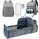 Upgraded Diaper Bag Backpack with Travel Bassinet,Large Multi-Functional Baby Backpack with Changing Station,Waterproof Portable Mummy Bag Include Insulated Pocket for Mammy(Easier to Use)