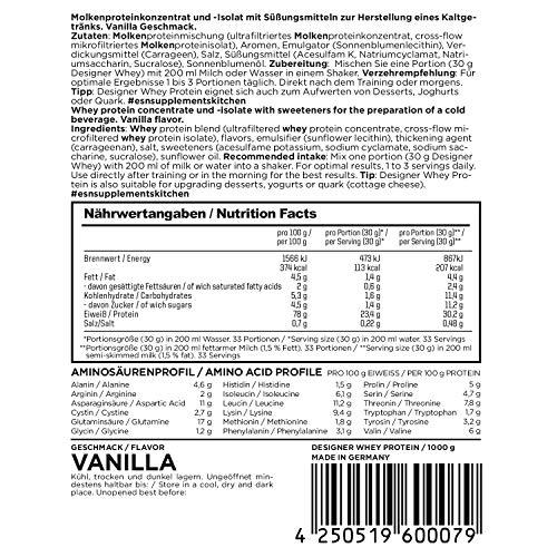 ESN Designer Whey Protein, Pro Series, Vanilla, 1er Pack (1 x 1000g Beutel) - 5