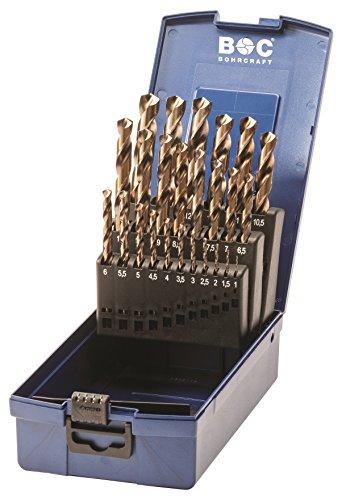 Bohrcraft 11401330025 Spiralbohrer Set HSS-E in ABS-Box KE13, teilig, 25 Stück Durchmesser 1-13 x 0,5 mm, Stück