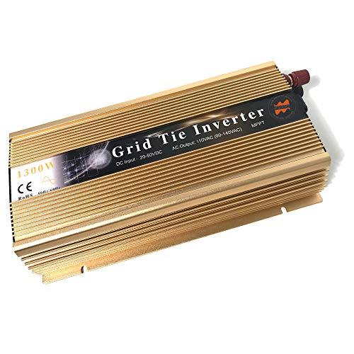 Marsrock 1300W Grid Tie Inverter Auto 20-50VDC(30v, 36v Solar) to 90~140VAC(110V AC) MPPT Pure Sine Wave Inverter for Max 1500W Solar or Wind Power Input (Golden)