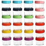 Belle Vous Recipientes Comida Bebe de Vidrio con Tapas de Plástico (Pack de 24) 100 ml Recipiente Hermetico Transparente Redondo – Libre de BPA y Plomo – Apto Lavavajillas, Congelador, Refrigerador