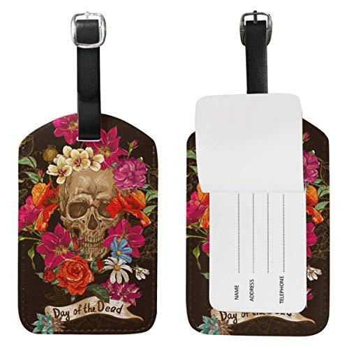 Etiquetas de equipaje de calavera con flores de cuero, bolsa de viaje, etiqueta de maleta, etiquetas de identificación 1 unidad
