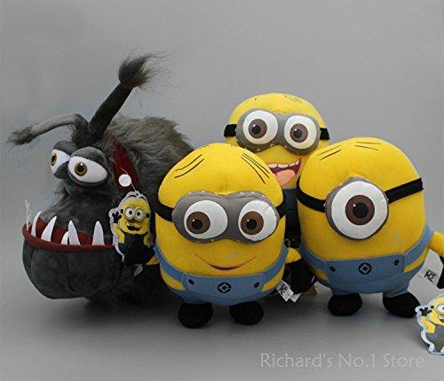 4 pcs/set Despicable ME Minions Dave Jorge Stewart Minion Papa Gru Dog Kyle Soft Plush Toys Doll Kid Toy Xmas Gift