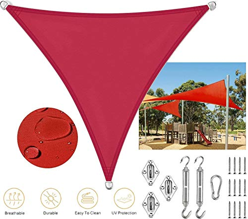 YYF Shade Sails Triangular UV Protection Water-repellent Sun Sail For Outdoor Terrace Party Camping,Red-6x6x6m