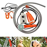 Naranja Manguera de 2m Ba/ño para Mascotas Ducha Rociador con Bomba de Agua Recargable para Camping Lavado de Coche Ducha Portatil 12V Playa