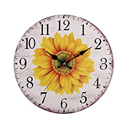 chenqiu European Retro Pastoral Style Sunflower Wall Clock Kitchen Wall Clock Battery Operated Large Easy to Read Vintage Wooden Style