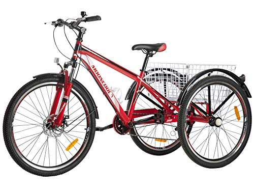 """Barbella Adult Mountain Bike, 7 Speed Three Wheel Mountain Tricycle Cruiser Trike with Shopping Basket for Exercise Men and Women (Red, 26"""" Tire)"""