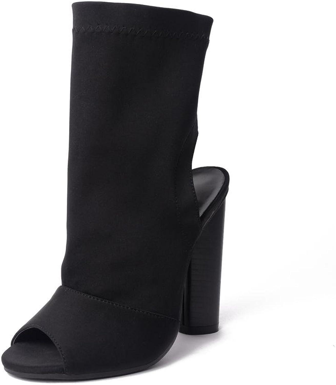 Damen Sexy Sandalen Stiefel Klobig Hoch Hacke Schuhe Fisch Mund Schwarz Arbeit Party Kleid Nachtclub