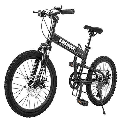 Nengge Kinder-mountainbike, inklapbaar, 20 inch, 6 versnellingen, dubbele fietsrem, licht, aluminium