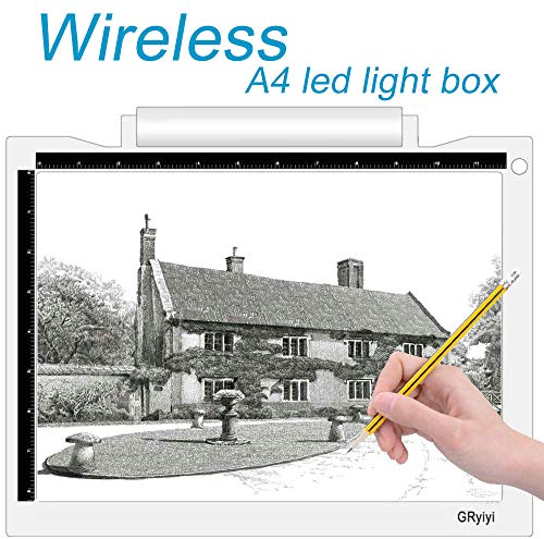 A4 Wireless LED Light Box for Tracing Artcraft Tracing Light Pad Battery or USB Port 5600 Lux LED...
