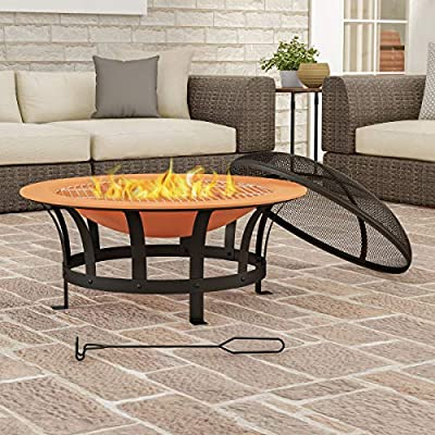 """Pure Garden 30"""" Outdoor Deep Fire Pit-Round Large Copper Colored Steel Bowl, Mesh Spark Screen, Log Poker & Grilling Grate, Brown from Trademark Global"""