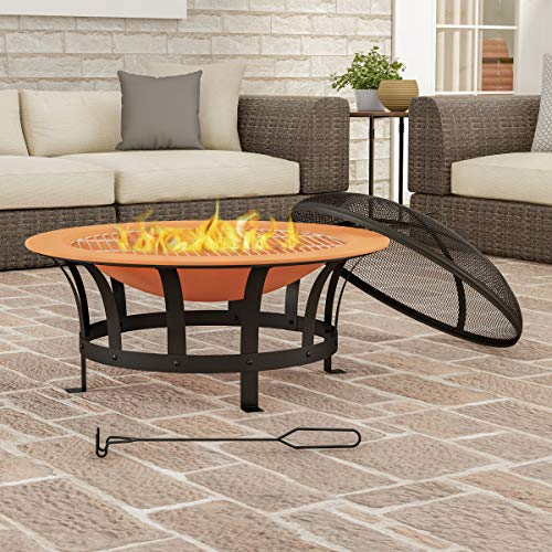 Pure Garden 50-LG1204 Round Large Copper Colored Steel Bowl, Mesh Spark Screen, Log Poker & Grilling Grate 30