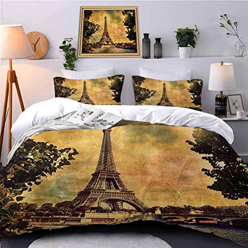 UNOSEKS LANZON Bedspreads Coverlet Eiffel Tower Trees River Bridge Water time Landmark Oil Painting Boys Bedding Sets Soft, Attractive, Easy to Get Quilt in - Queen Size