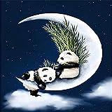NVFDFF Dipingi per Numero Kit Dipinti ad Olio FAI da te, Panda sulle Lune con pennelli e Pigmento Acrilico Decorazione Della casa 40 x 50cm Senza Cornice