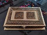 SONIS Caja de fruta seca de madera oxidada artesanal para Diwali, artículo de regalo, Pan-Masala, Mukhwas , decoración del hogar, caja de chocolate, mesa decorativa (30,5 x 20,3 cm)